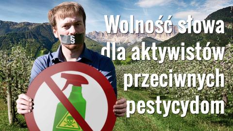 Łańcuch górski i dolina, z prawej: mężczyzna z zaklejonymi taśmą ustami, trzymający znak sprzeciwu wobec pestycydów